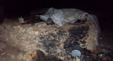 2011-09-09 Israeli settlers set fire to an house-tent in the palestinian village of Susiya