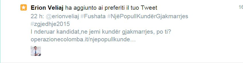 Erion Veliaj ha aggiunto ai preferiti il tuo Tweet