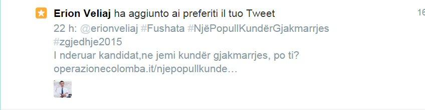 Erjon Veljai ha aggiunto ai preferiti il tuo Tweet