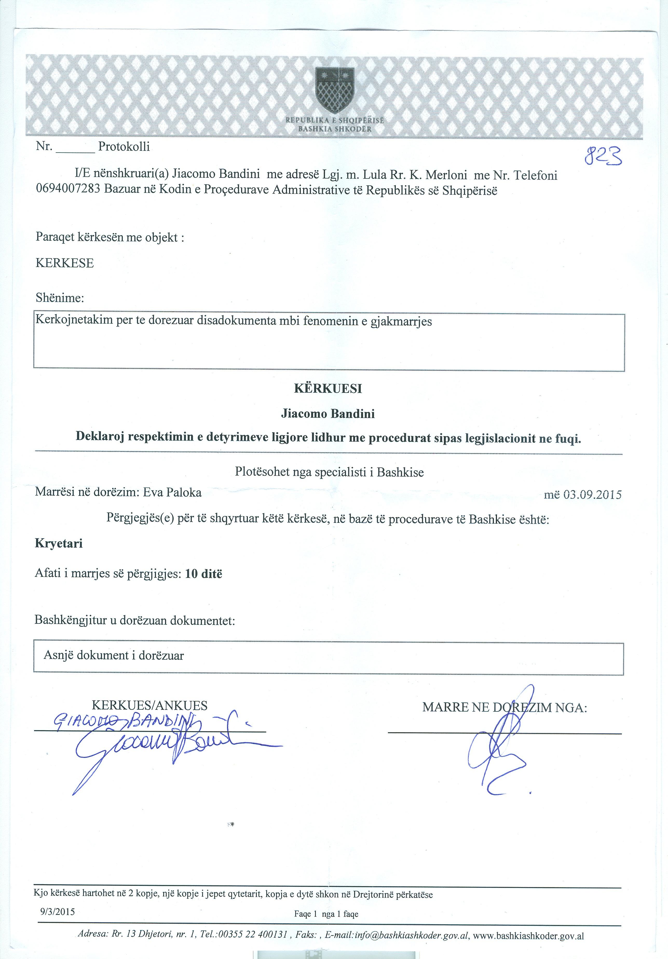 dokument të protokolluar per nje Takim